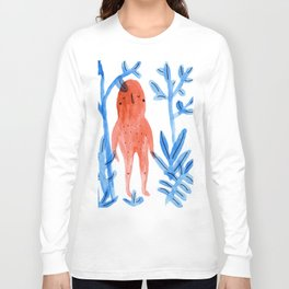 Red Monster on a Blue Jungle Long Sleeve T-shirt
