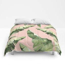 Banana Leaves 2 Green And Pink Comforters