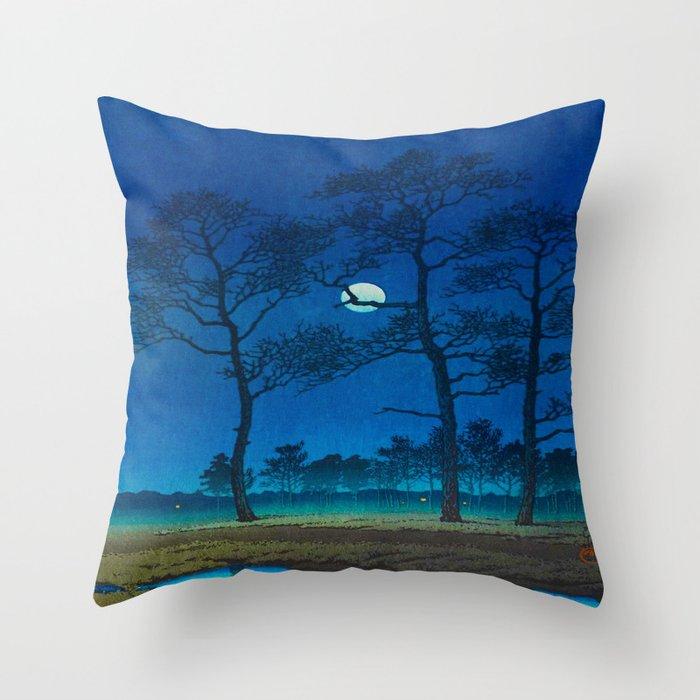 Vintage Japanese Woodblock Print Three Tall Trees At Night Forest Field Landscape Deko-Kissen