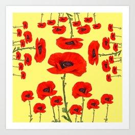 POPPY PIZZA RED-ORANGE  FLORAL DESIGN ON YELLOW ART Art Print