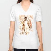 vienna V-neck T-shirts featuring The Fiaker in Vienna by Vargamari