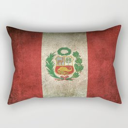 Old and Worn Distressed Vintage Flag of Peru Rectangular Pillow