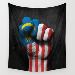 Malaysian Flag on a Raised Clenched Fist Wall Tapestry