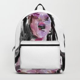 Yawning Girl in Purple Violet Blue Backpack