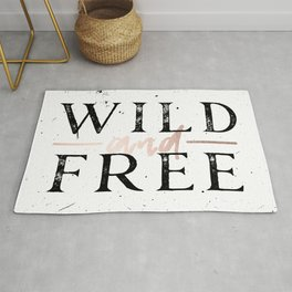 Wild and Free Rose Gold on White Rug