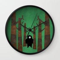 sasquatch Wall Clocks featuring Sasquatch in Trees by Ryan W. Bradley