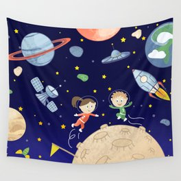 Space kids astronauts planets asteroids and spaceships Wall Tapestry