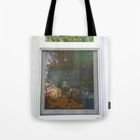 garfield Tote Bags featuring Garfield in the House by Cody_Van