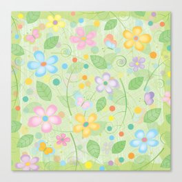 Floral and Butterfly Pattern - Spring Blossom Canvas Print