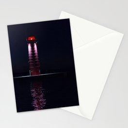 Kenosha North Pier Light Lighthouse at Night Stationery Cards