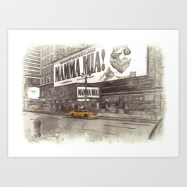 NYC Yellow Cabs Musical - SKETCH Art Print