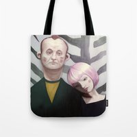 lost in translation Tote Bags featuring Lost in translation  by Maripili