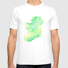 Typographic Ireland - Green Watercolor MEDIUM Mens Fitted Tee White