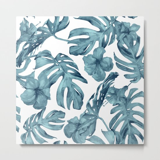 Teal Blue Tropical Palm Leaves Flowers Metal Print