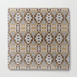 Brown Gray Tribal Kilim Mosaic Pattern Metal Print