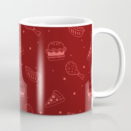 Fast Food Snacks Attack - Pizza Pie Hot Dogs Chicken Wings! on Red Coffee Mug