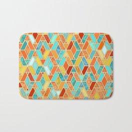 Tangerine & Turquoise Geometric Tile Pattern Bath Mat