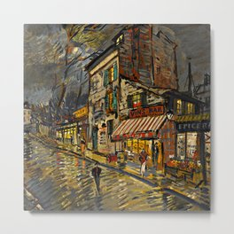 Lonely Paris, Midnight, Left Bank street life landscape painting by Konstantin Korovin Metal Print