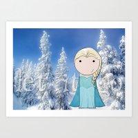 frozen elsa Art Prints featuring Elsa: Frozen  by Jen Talley