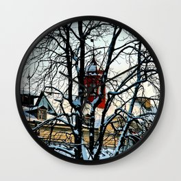 Red Tower Wall Clock