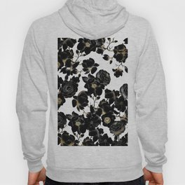 Modern Elegant Black White and Gold Floral Pattern Hoody