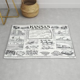Vintage Illustrative Map of Kansas (1912) Rug