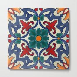 Colorful Azulejos Pattern Metal Print