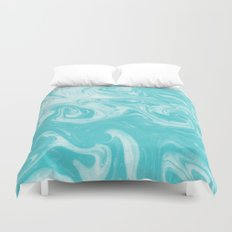 Akito - spilled ink water waves ocean marble blue sea minimal abstract painting marbled texture ink Duvet Cover