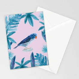 Blue Pacific Parrotlet with tropical leaves and a violet background Stationery Cards