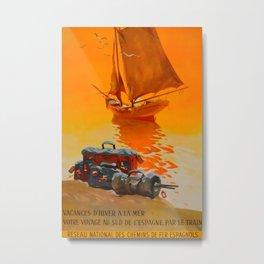 Vacances de hiver a la mer Vintage Travel Poster Metal Print