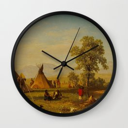 Albert Bierstadt - Sioux Village near Fort Laramie Wall Clock