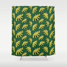 Pretty Clawed Green Leaf Pattern Shower Curtain