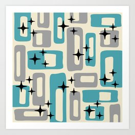 Retro Mid Century Modern Abstract Pattern 223 Blue and Gray Art Print