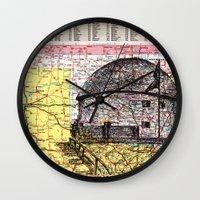 oklahoma Wall Clocks featuring Oklahoma by Ursula Rodgers