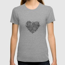 Floral Heart Doodle Illustration Art T-shirt