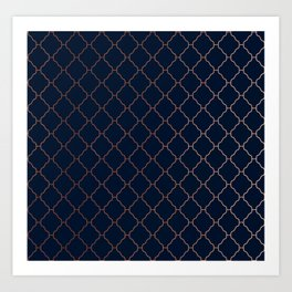 Navy blue and copper seamless pattern Art Print