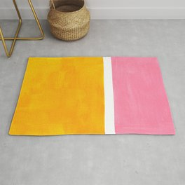 Pastel Yellow Pink Rothko Minimalist Mid Century Abstract Color Field Squares Rug