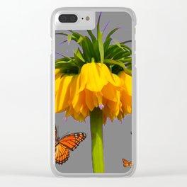 ORANGE MONARCH BUTTERFLIES CROWN IMPERIAL FLOWER Clear iPhone Case
