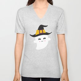 Cute Ghost, Ghost With Witch Hat, Halloween Unisex V-Neck