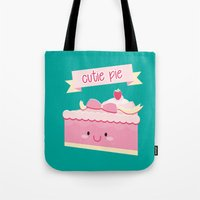 pie Tote Bags featuring Cute pie by Alice Wieckowska