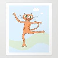 happy dancing cat Art Print