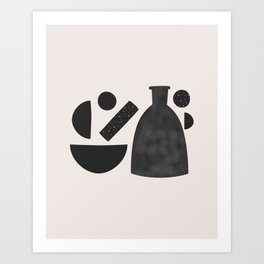 Minimal Abstract Vase and Shapes Art Print