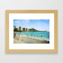 Diamond Head & Waikiki Framed Art Print