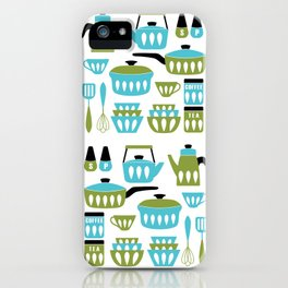 My Midcentury Modern Kitchen In Aqua And Avocado iPhone Case
