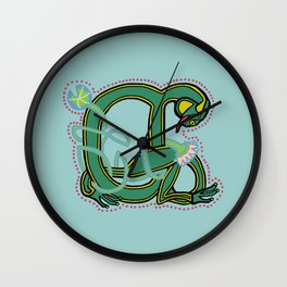 Celtic Medieval Frog Letter A 2020 Wall Clock
