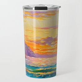 Sunset on the rocky shore Travel Mug