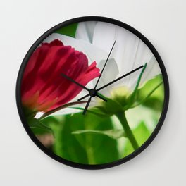 red & white cosmea Wall Clock