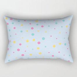 Multicolour Polka Dots on Blue Background Rectangular Pillow