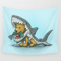 suit Wall Tapestries featuring Shark Suit Dog by Nick Volkert