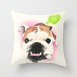 English Bulldog - F.I.P. - @LucyFarted Throw Pillow